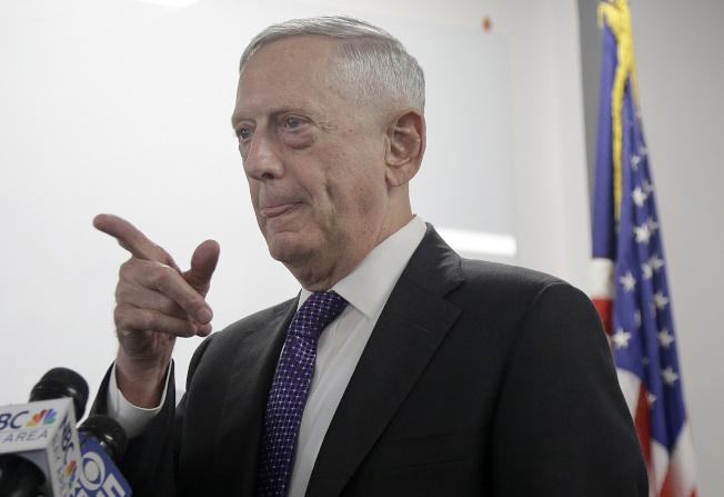 美國國防部長馬提斯說,對北韓的動武方案已經就緒。(美聯社)