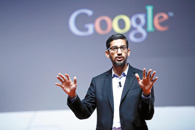 Google執行長皮采(Sundar Pichai),遇到上任兩年半以來的最大挑戰。(Getty Images)
