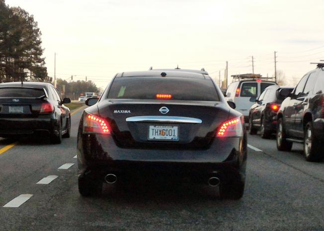 代表虔誠信仰、感謝主的車牌「THXG0D1」。(記者張蕙燕/攝影)