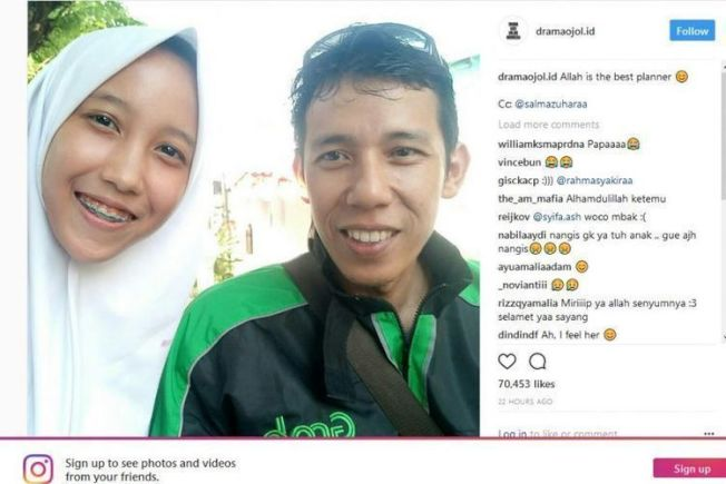 印尼17歲女孩莎爾曼下課後從網路叫車回家,沒想到司機竟然是她失聯10年的父親,讓她百感交集。圖擷自羅盤報(0810)