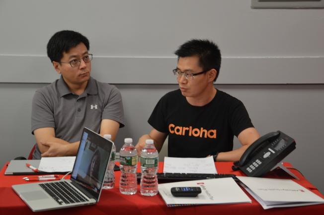 徐延飛(左)及龍亮(右)分享創業心得。(記者牟蘭/攝影)