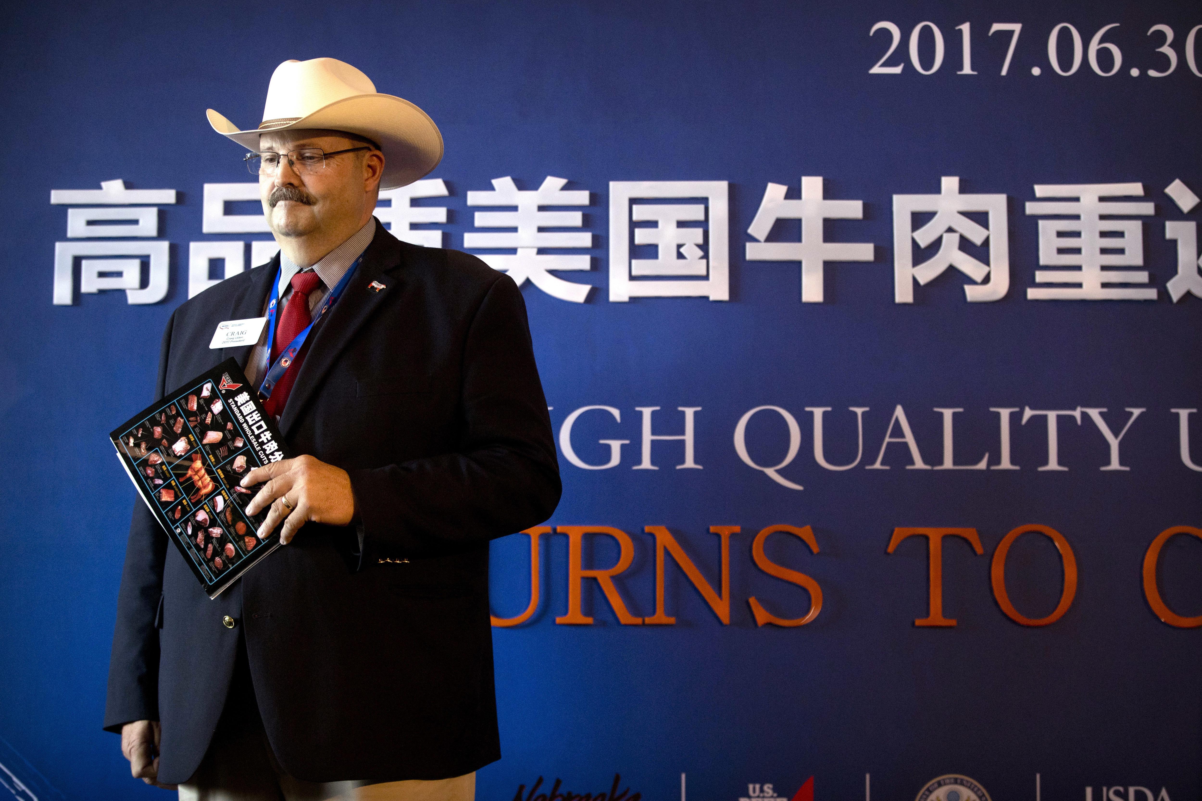 今年6月30日美國才高調慶祝牛肉重返中國市場。(美聯社)