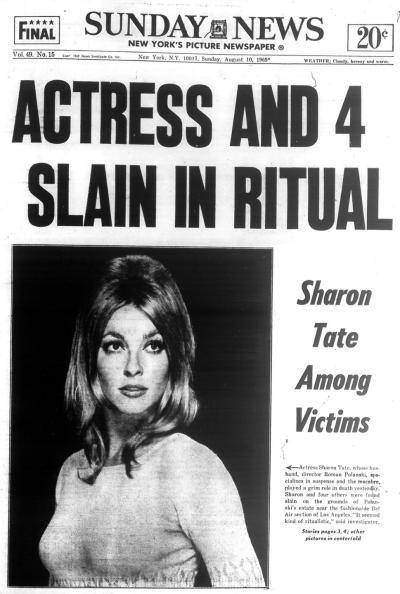 莎朗蒂(Sharon Tate)被殺害後的新聞頭版。圖/取自網路