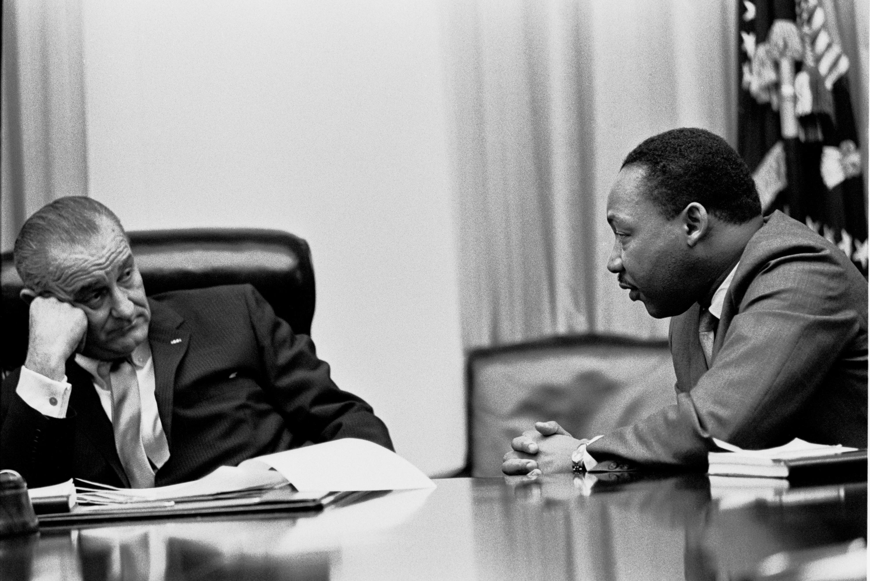 1966年金恩博士與前總統林登·詹森。圖/維基百科