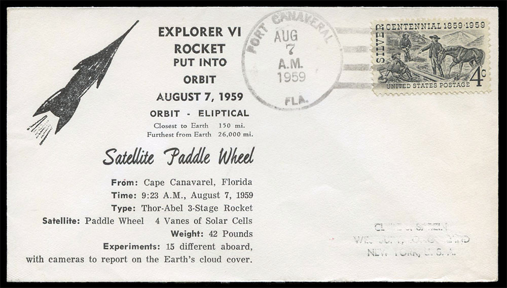 1959年探索者6號衛星成功發射後,美國發行的首日紀念信封。圖/取自網路