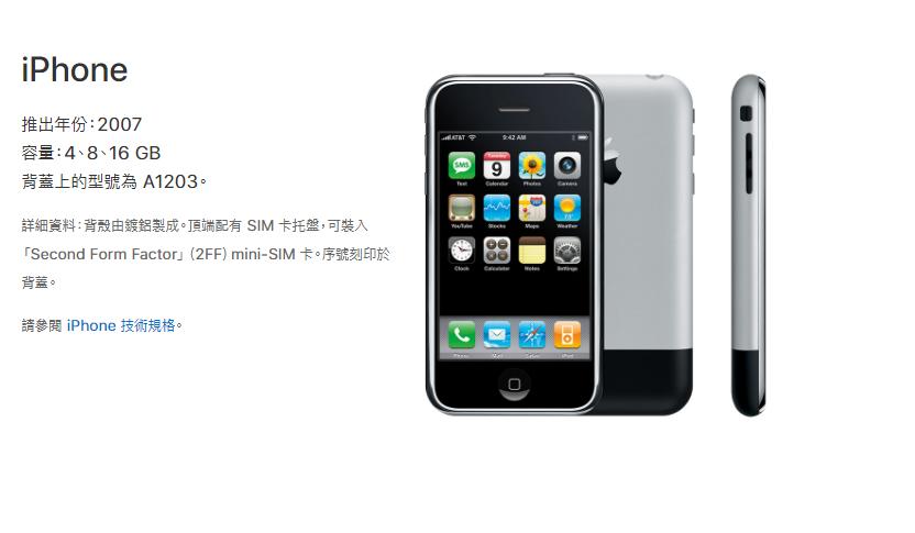 2007年推出的第一代iPhone。取自/蘋果官網