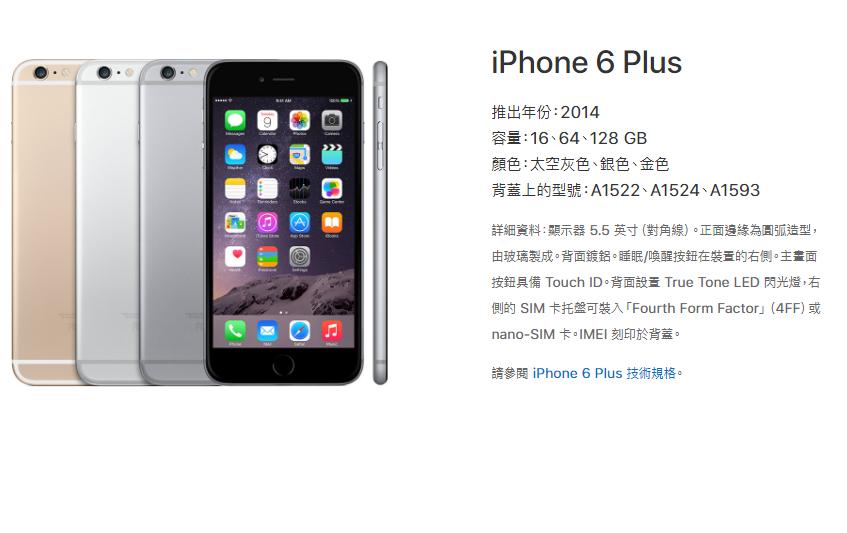 2014年推出的iPhone 6 Plus。取自/蘋果官網