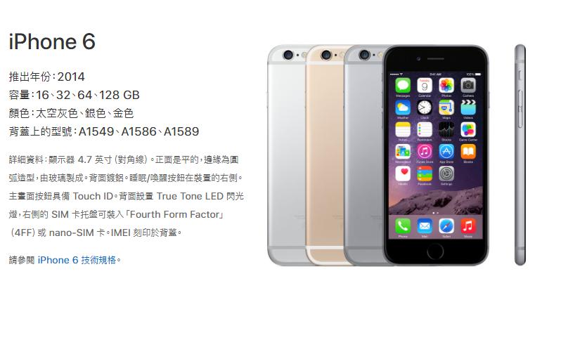 2014年推出的iPhone 6。取自/蘋果官網