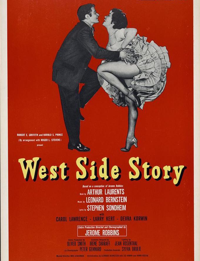 1958年的西城故事百老匯演出海報。(國會圖書館)