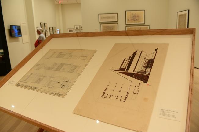 MoMA展出的萊特手稿。(記者許振輝/攝影)