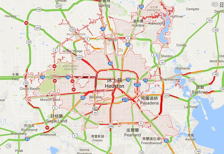 哈維颶風雖然遠離,但對休士頓交通的影響才剛開始,許多主要道路仍舊封閉,交通嚴重堵塞。(Google Map)