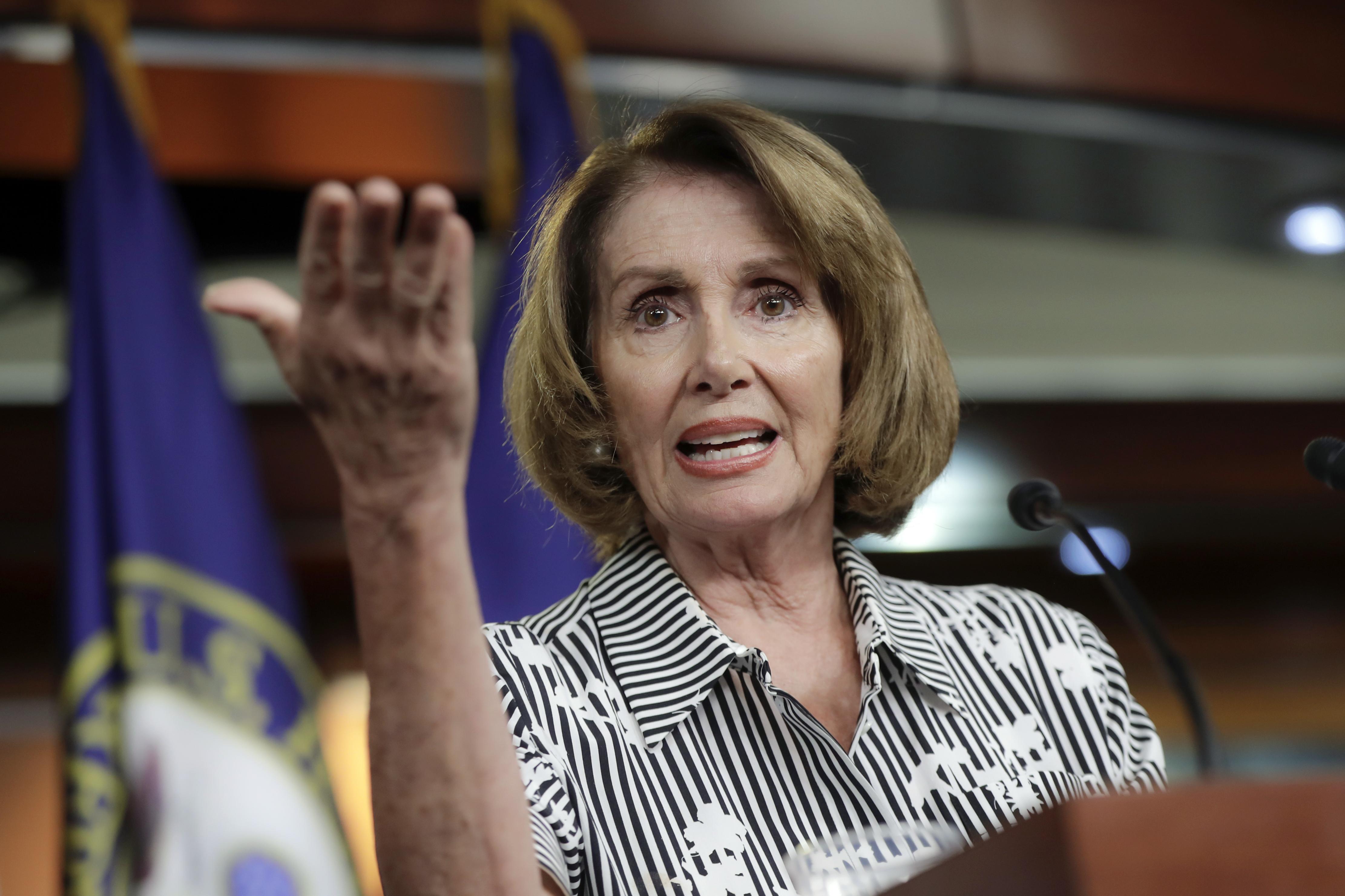 川普總統推文安撫夢想生,眾院民主黨領袖波洛西稱是出自她的要求。(美聯社)