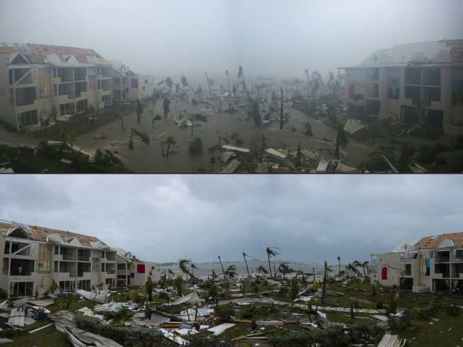 上圖為颶風厄瑪在法屬聖馬丁島肆虐,下圖為颶風過後,屋頽垣傾。(Getty Images)