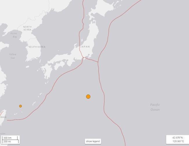 美國地質調查所表示,日本小笠原群島外海也發生規模6.1地震,但沒有海嘯風險。震央位於下田市南方770公里左右。(取材自美國地質觀測所)