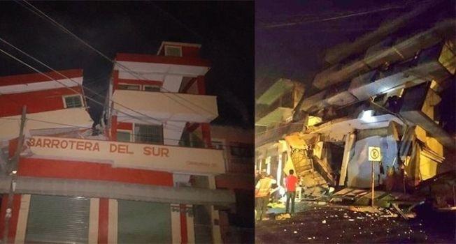 墨西哥南部海岸7日深夜發生規模8.4的大地震,墨西哥城市的建築出現倒塌。(取材自推特)