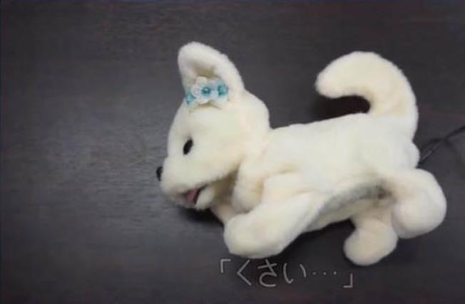 日本新創公司研發出超級卡哇伊的機器狗小鼻,牠能幫忙聞腳丫子,而且反應超誠實,要是腳真的太臭,會立刻暈倒。(取材自朝日新聞網站asahi.com)