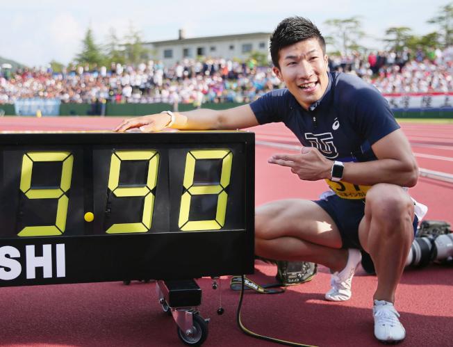 桐生祥秀是日本首位「9秒男」,同時也創下黃種人最快百米紀錄。(美聯社)