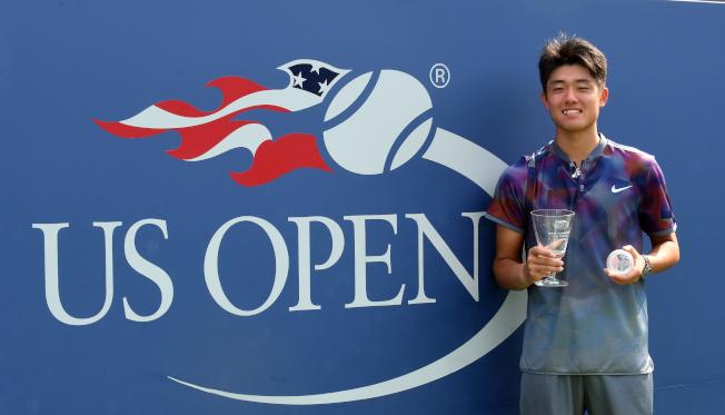 中國網球新秀吳易昺奪得美網青少年冠軍。(記者許振輝/攝影)