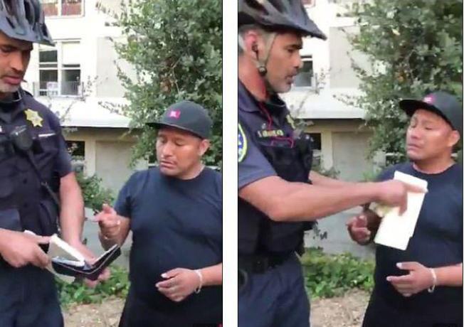 美國加州大學柏克萊分校巡邏員警日前在校園內取締一名無照營業的熱狗小販,還直接從小販的皮夾中把現金抽走。(取材自英國每日郵報)