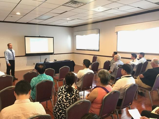 蒙市12日舉辦特別市議會,市府官員與民眾分享城市當前發展現狀並收集意見,近50位市民到場參與。(記者高梓原/攝影)