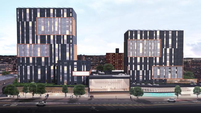 168街與93大道的紐約市警停車場,將改建100%平價屋公寓,圖為公寓設計圖。(取自NYCEDC網站)