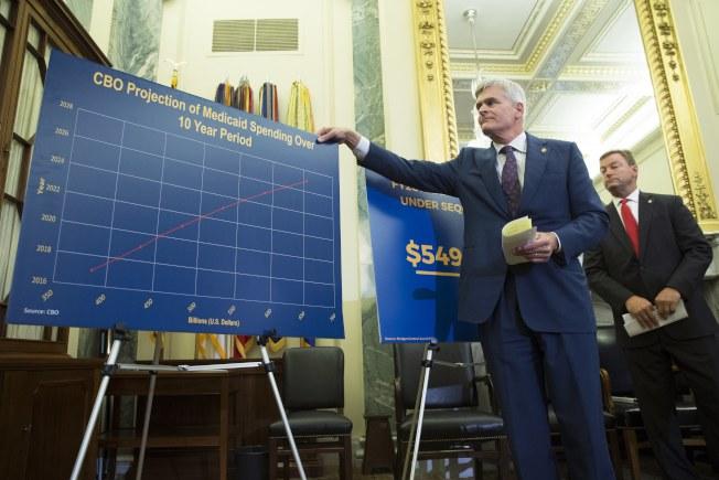 共和黨國會參議員聯名提出新的健保案,圖為參議員卡西迪說明新案的十年醫療支出。(歐新社)