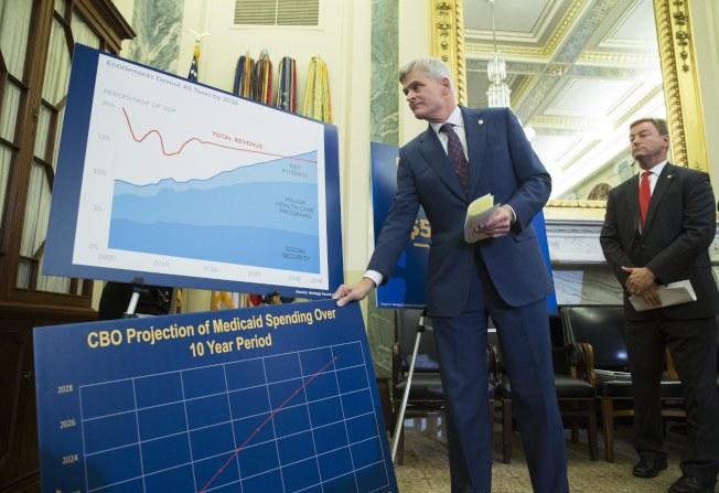 共和黨國會參議員聯名提出新的健保案,圖為參議員卡西迪說明新案的十年財政負擔。(歐新社)