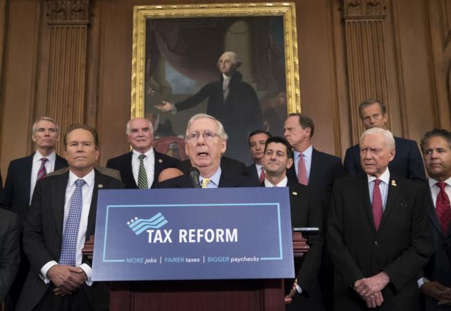 共和黨國會參院領袖麥康諾談稅改。(美聯社)