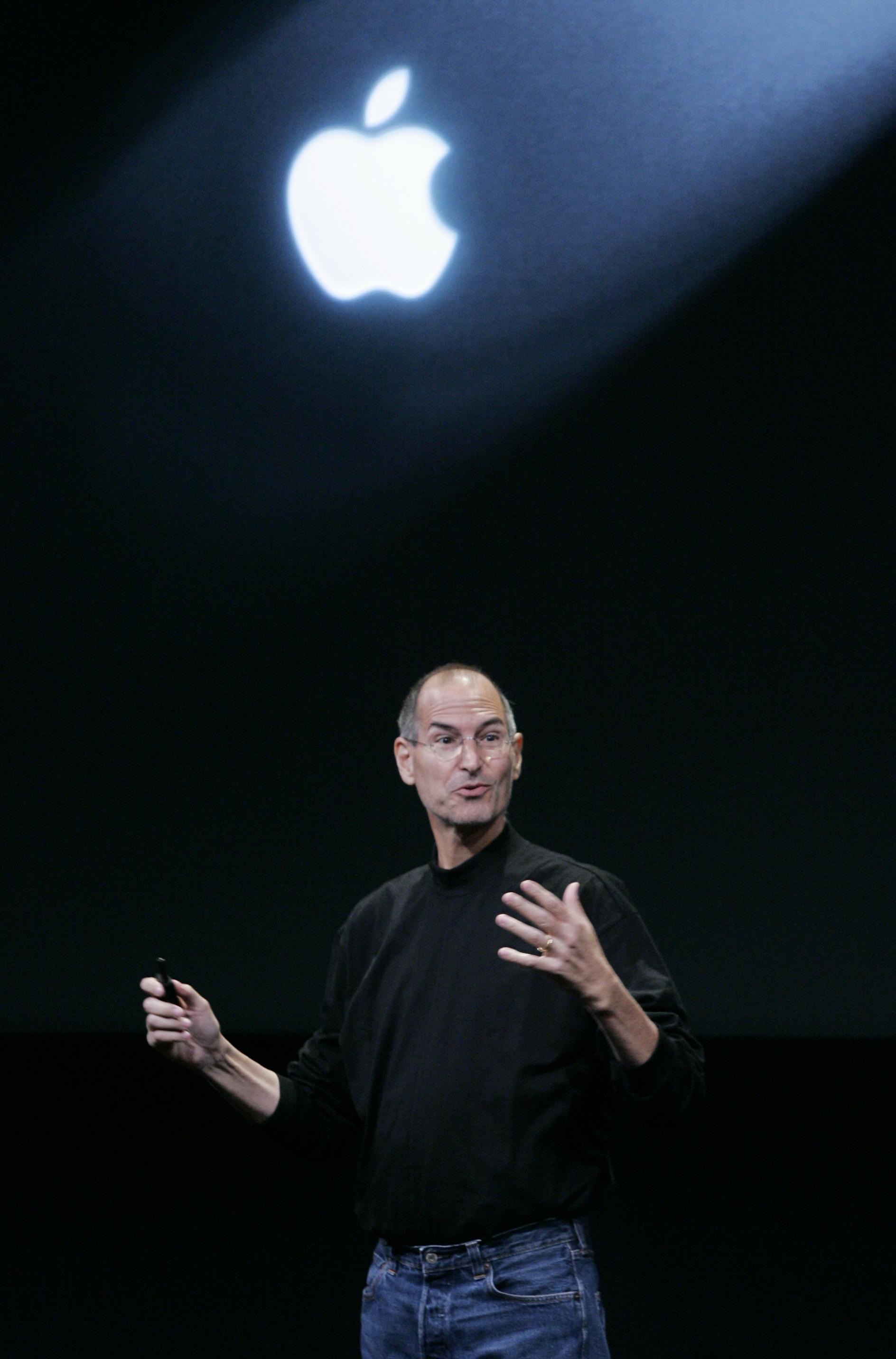 2008年10月14日,賈伯斯在蘋果公司總部宣布最新產品。(美聯社)