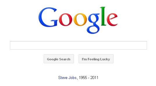 網路搜尋巨擘Google在搜尋欄下方寫著「Steve Jobs, 1955-2011」悼念這位21世紀天才。