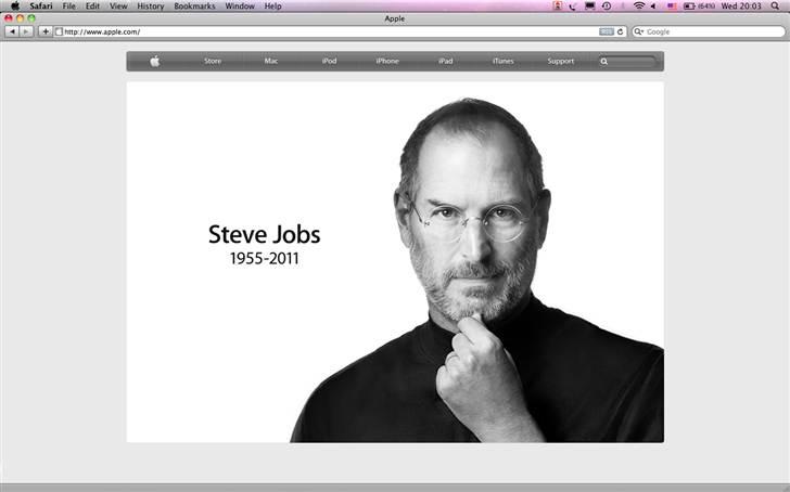 蘋果公司官網首頁在賈伯斯逝世當天,換上賈伯斯式的簡約風格以示悼念。
