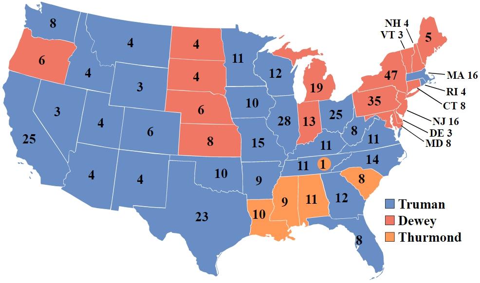 總統選舉結果地圖,藍色代表杜魯門獲勝的州,紅色代表杜威獲勝的州。(WikiCommons)