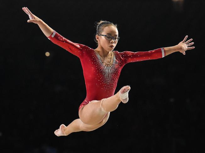 夏松4日在體操世錦賽女子全能決賽中的優美姿態,最終奪冠。(Getty Images)