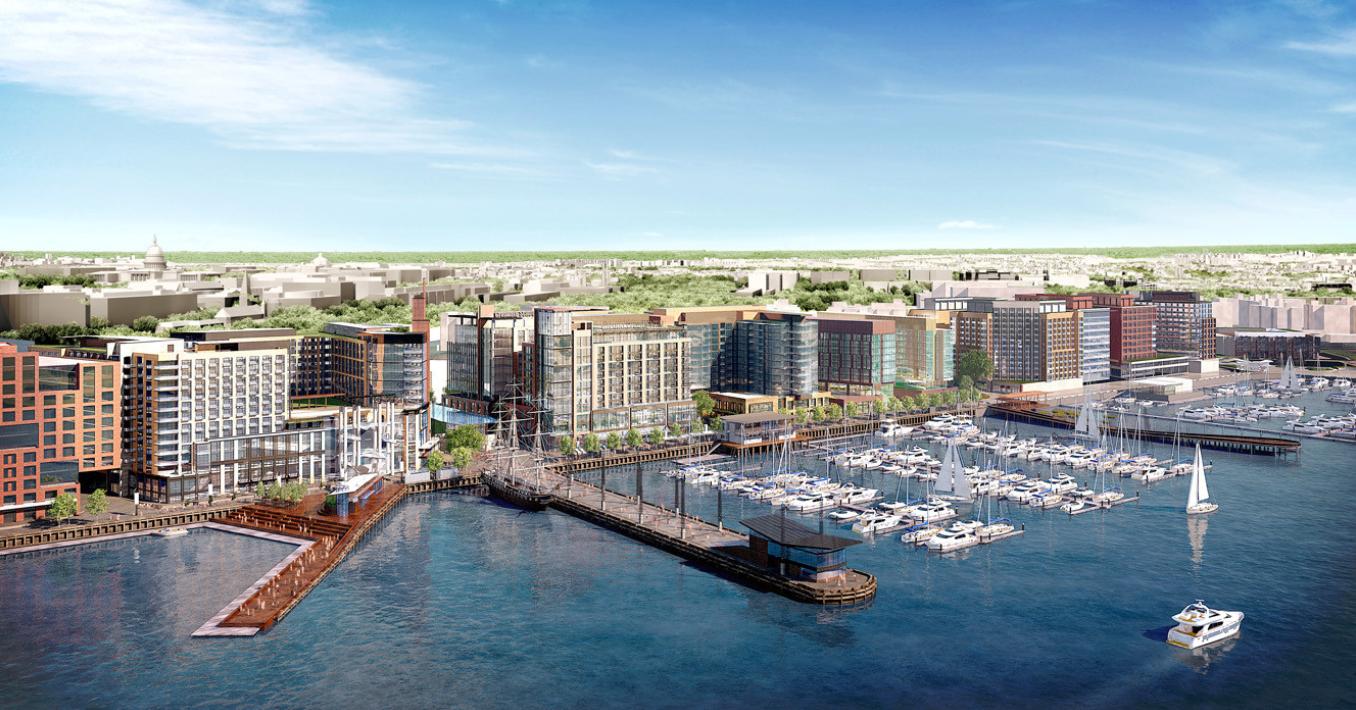 2014年通過後大興土木的西南碼頭,是華府規模最大的舊區翻新開發案。(Perkins Eastman開發公司)