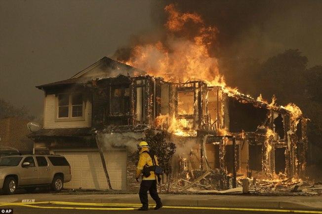 納帕郡從8日到9日至少14處山火,消防員救火疲於奔命。(美聯社)