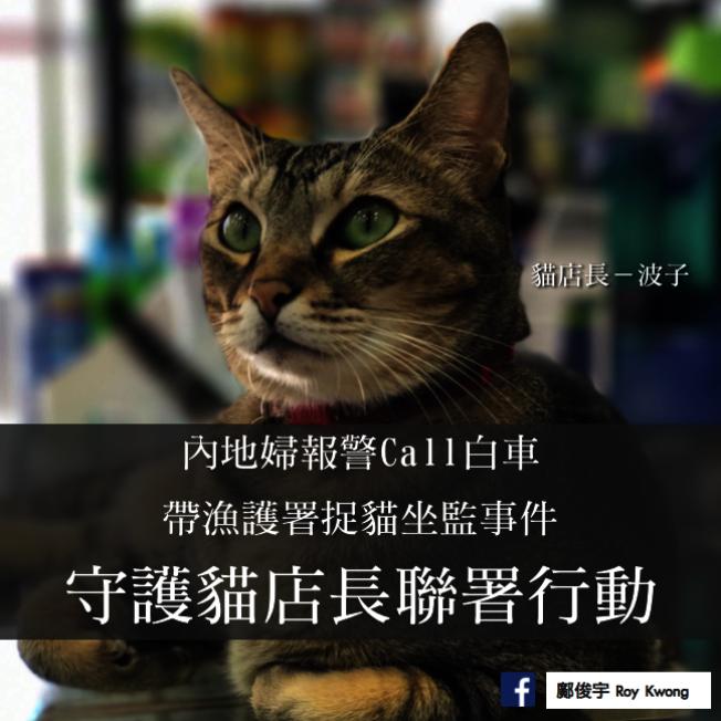 香港立法會議員鄺俊宇發起聲援貓店長「波子」的連署活動。(取材自臉書)