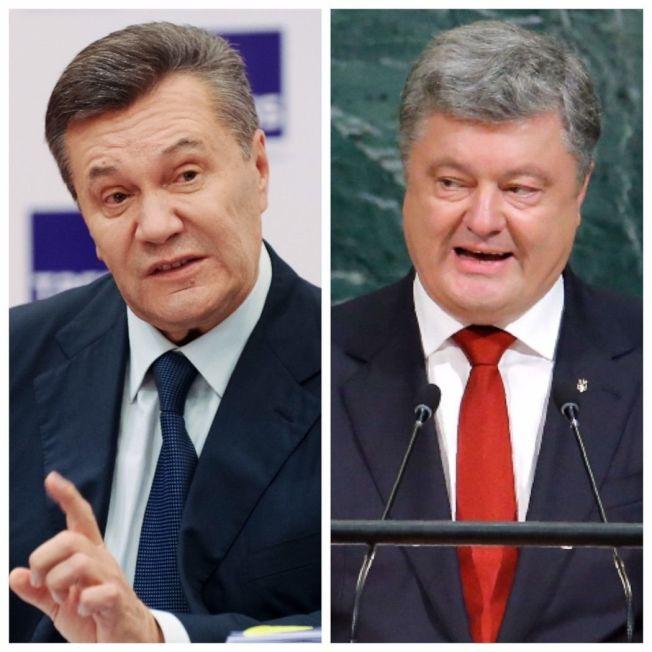 2014年遭推翻逃往俄國的烏克蘭前總統亞努科維奇(左,美聯社),與現任烏克蘭總統波洛申科(右,路透)。