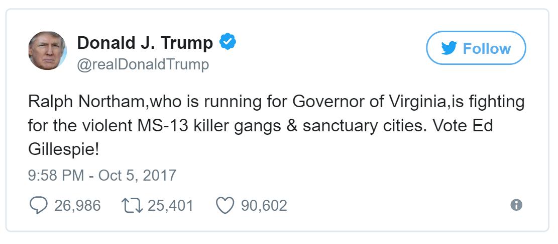 川普總統10月5日推文挺葛里斯比。(推特)