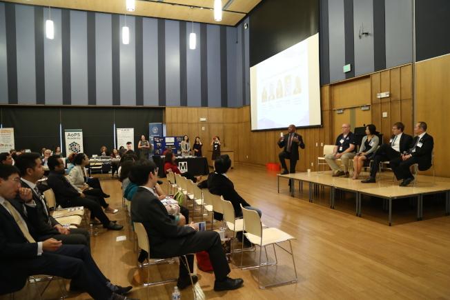 亞美商會在馬州銀泉市政中心,舉辦第8屆亞美企業峰會及商展。來自聯邦、州、郡政府的官員及企業家分享政府給予少數族裔企業的資源,以及外國企業來美投資。(記者羅曉媛/攝影)