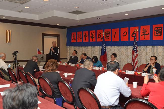 「北京之春」、「自由中國」、「中國民聯」等團體10日辦雙十國慶大會。(記者朱澤人/攝影)