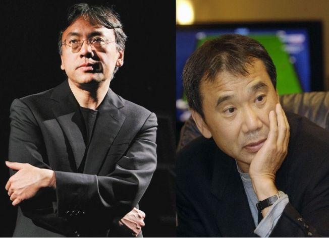 日本人氣作家村上春樹(右)無緣諾貝爾獎,日裔英籍的石黑一雄(左)卻爆冷獲獎,成為文學界頭號話題。 圖/報系資料照