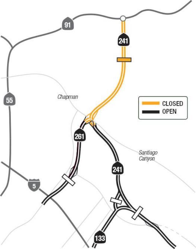 截至11日傍晚,241號公路在91號公路與261號公路之間封閉。(加州交通處)