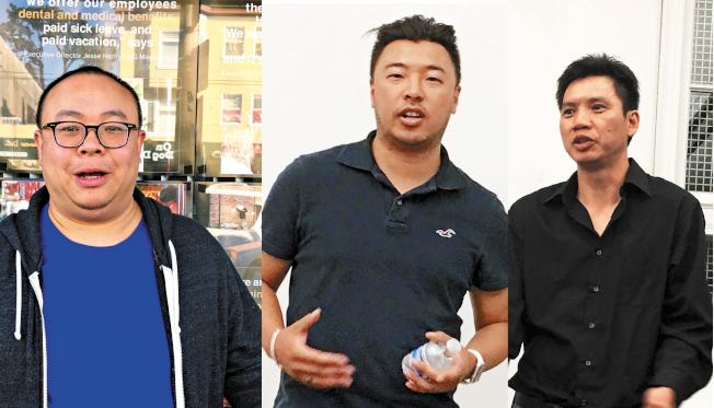 何文健(左圖起)、王理查和裴豐三人,均是開設大麻店的華裔代表。他們三人的開店計畫亦會在本月內有結果。(記者李晗/攝影)