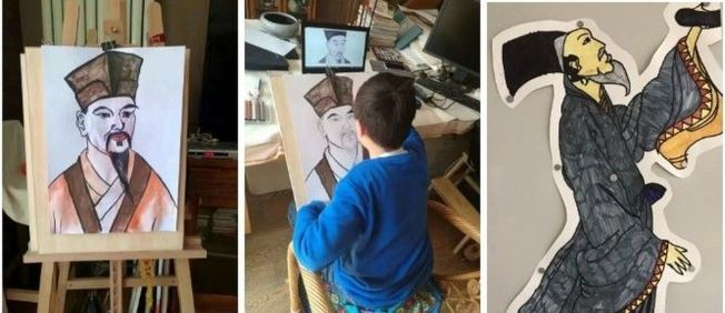 清華附小小學生,在長假期間研究蘇軾。(取材自人民日報)
