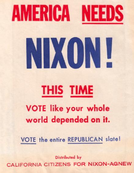 1968年,尼克森在競選期間於加州免費派發的垃圾袋,上面有「這次,美國需要尼克森!」的字樣。(尼克森圖書館)