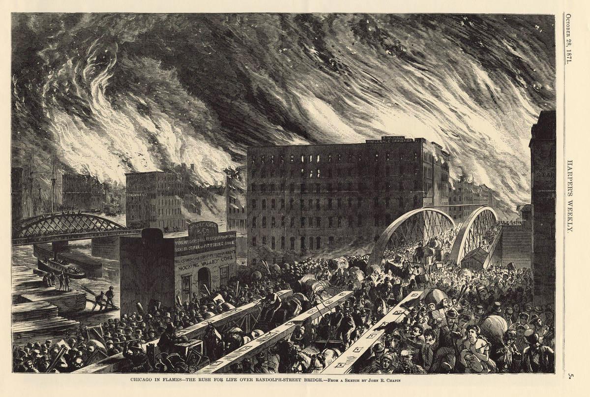 畫家約翰·R·查平於1871年10月28日出刊在哈潑雜誌(Harper's Weekly)的芝加哥大火。畫面的視角面向東北方,穿過倫道夫街大橋。(WikiCommons)