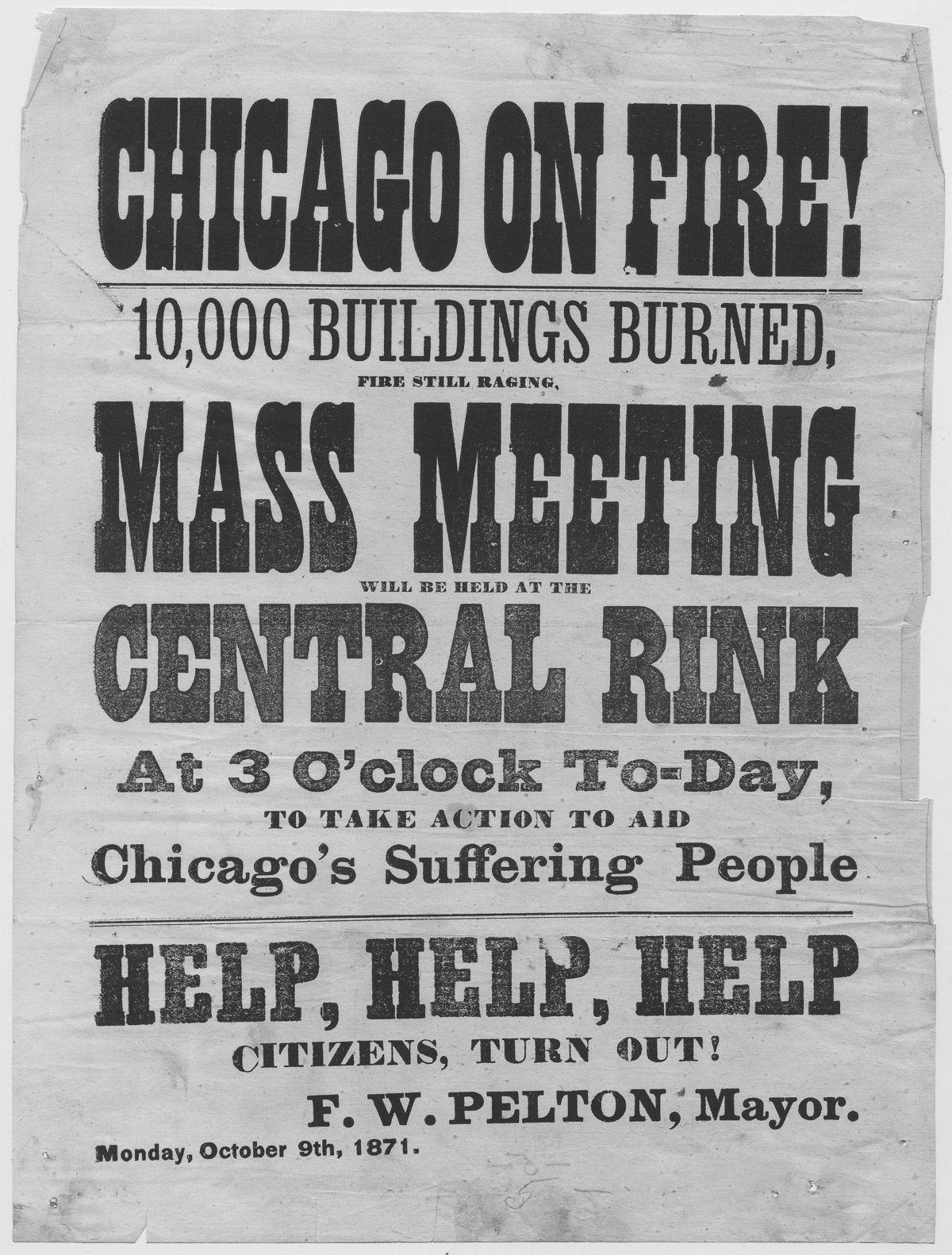 1871年10月9日,時任芝加哥市長張貼海報,呼籲市民團結起來協助救災。(Getty Images)