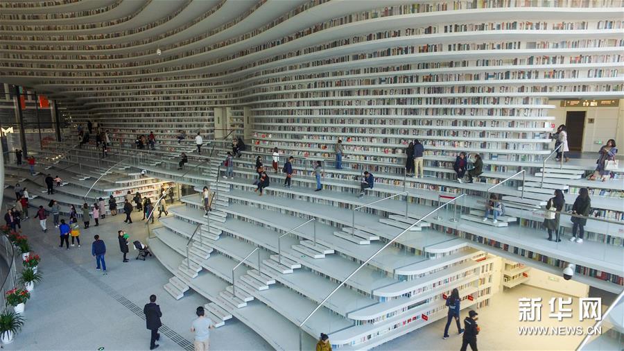 天津濱海新區一座圖書館以別致的造型在網絡走紅,吸引許多人前去參觀瀏覽、借閱書籍。(新華網)