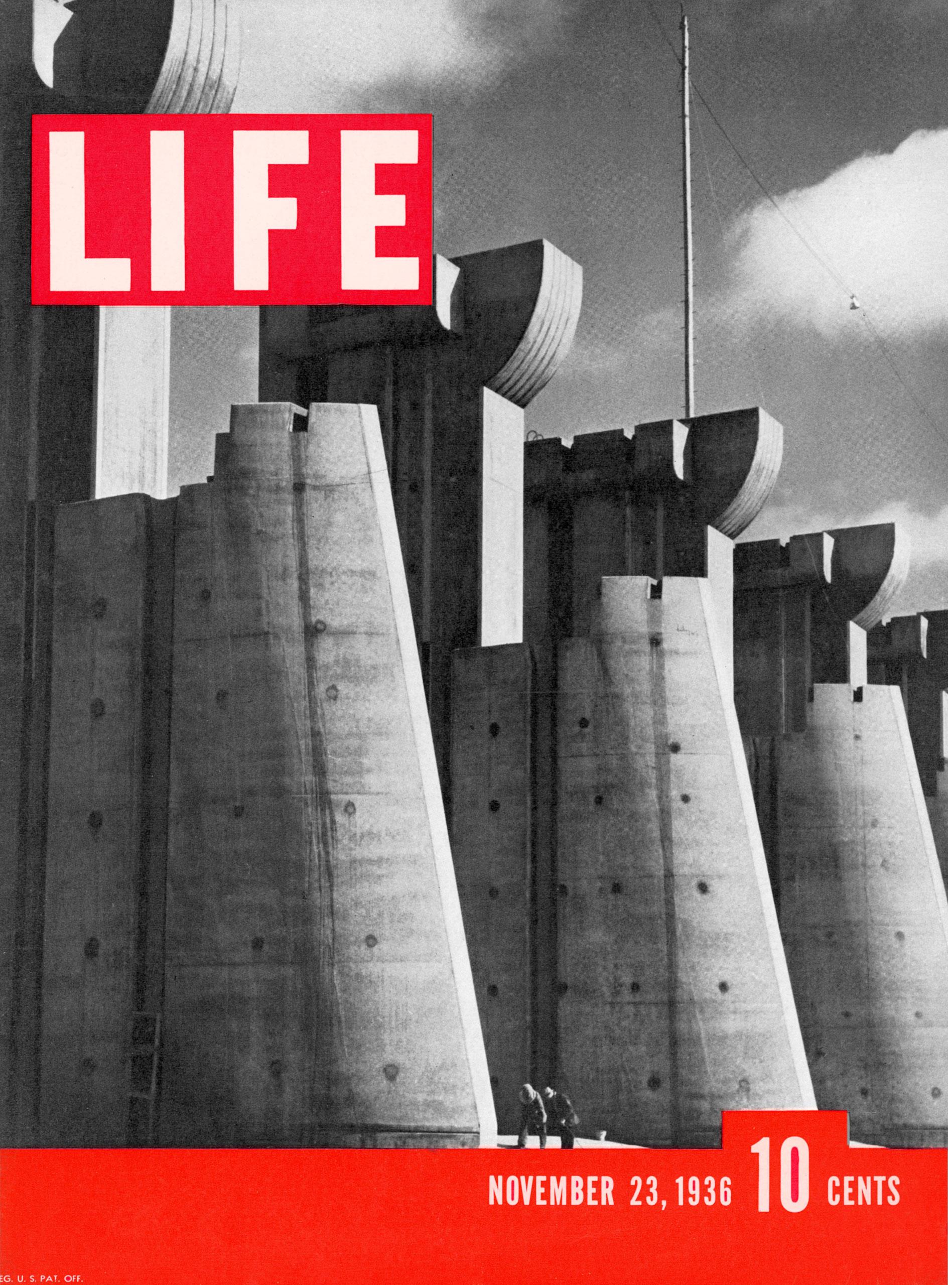 1936年11月23日,生活雜誌的創刊號封面為密蘇里的派克堡大壩工程。(時代雜誌官網)