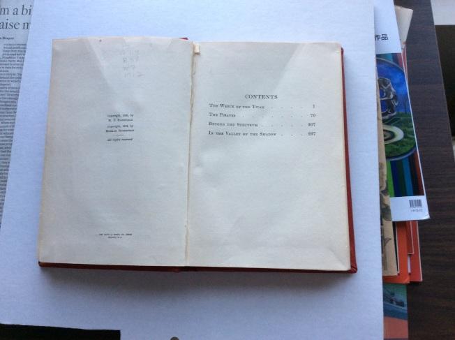 1912年版《徒勞無功》的目錄。
